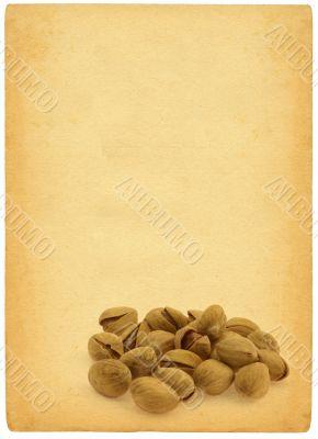 pistachios against retro background