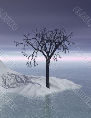 3d Scandinavian winter twilight