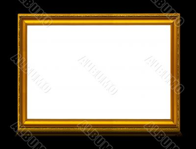 golden frame with reflection isolated on deep black