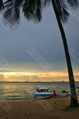 Tourist Beach Sunset