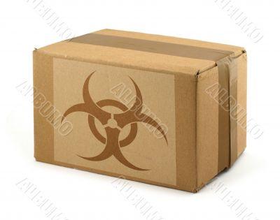 cardboard box with Biohazard Symbol