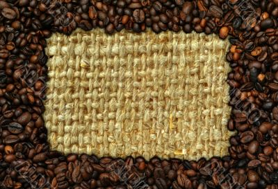 coffee frame with burlap copy space