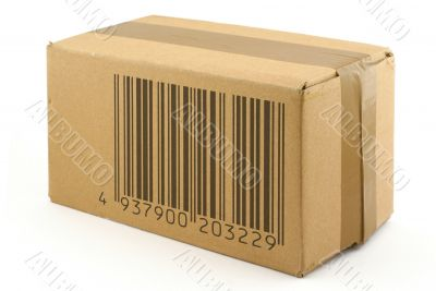 cardboard box with fake bar code