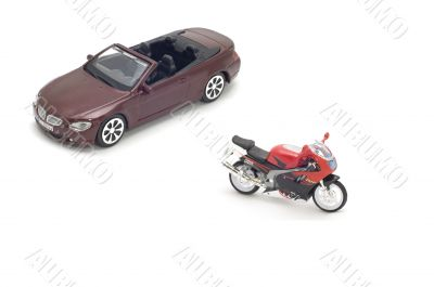 cabriolet and motor bike