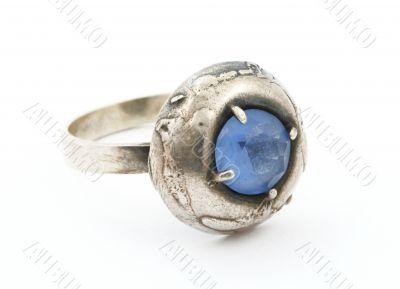 vintage ring with blue gem