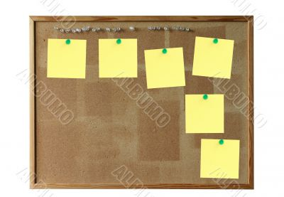 cork board with empty yellow notes