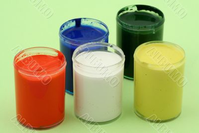 multicolored paint pots