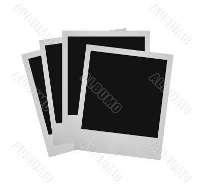 stack of photo frames against white