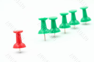 metaphor of group leader - pushpins