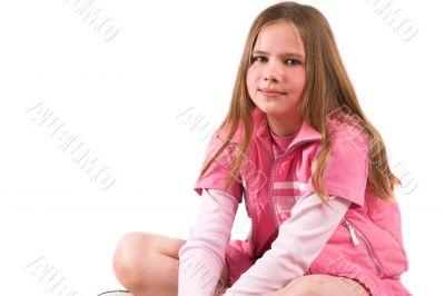 Pretty smiling ten year old girl