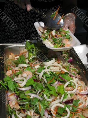 A serving of seafood salad