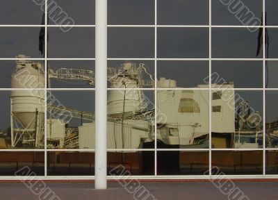 reflection of industrial works in city building