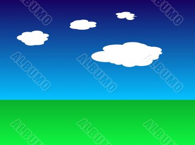 Green earth and blue sky with clouds