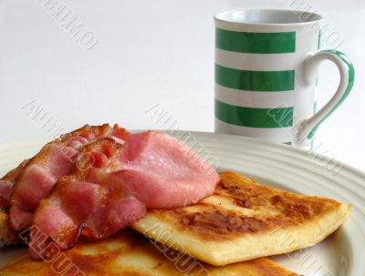 Scottish breakfast and mug of tea