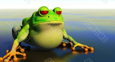 frog cartoon in reflective pond