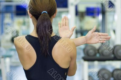 Shoulder Stretch in Gym