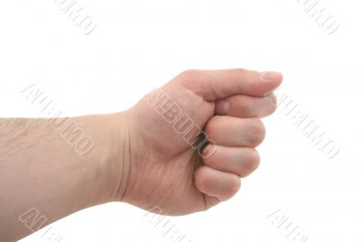 clenched fist - pure white background