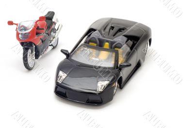 sport car and moto bike