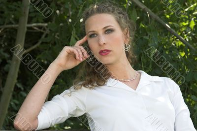 Pretty businesswoman; relaxed moment