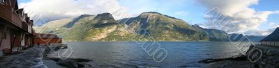 Panoramic view of Sogne Fjord Norway.