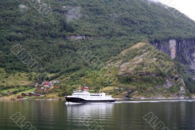 Ferry in the Geiranger Fjord