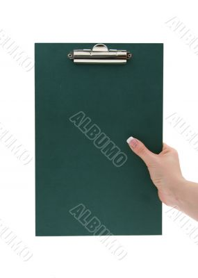 hand holding empty clipboard