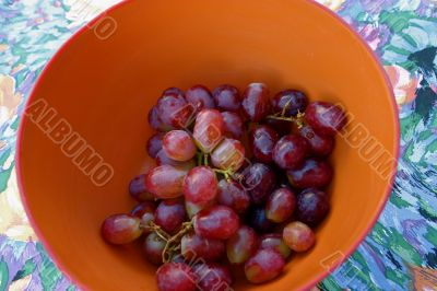Organic Red Grapes in Serving Bowl