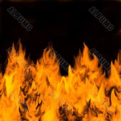 Burning flames against a dark background