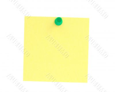 yellow note pinned to white