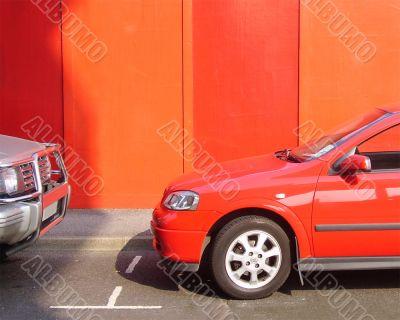 orange car against orange background