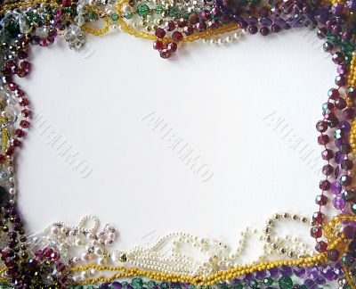 colourful selection of necklaces as picture frame