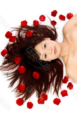 Girl and Rose Petals