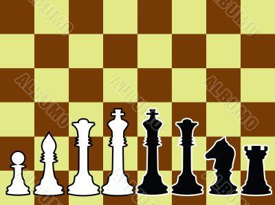 Chessmen, black and white contours.