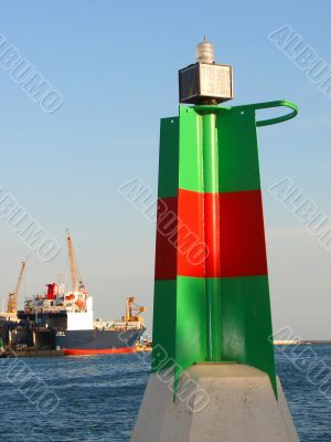 stationary beacon in port of Barcelona