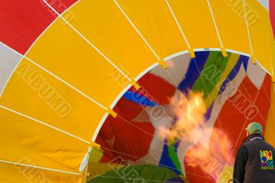 Hot Air Balloon Inflated by Flame