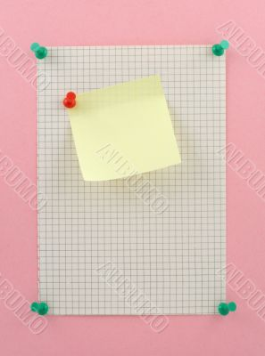 piece of squared paper with post-it