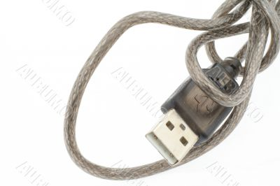 USB wire on white background