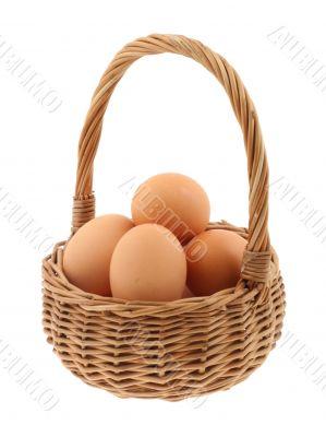 basket full of eggs - pure white background