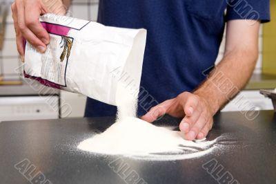 Making Pasta - Pouring Flour