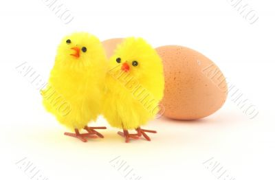 two easter toy chicken isolated on white