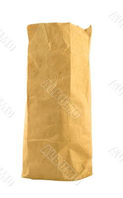 brown paper bag on pure white background