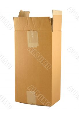 cardboard box on pure white background
