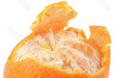 macro of a peeled tangerine on pure white