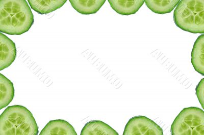 high resolution frame made of cucumber slices