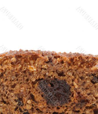 macro of diet bread with prune