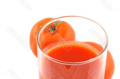 tomato juice on white