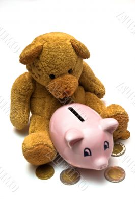 Teddy Bear Piggy Bank Saving
