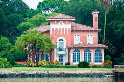 Pink Waterfront House