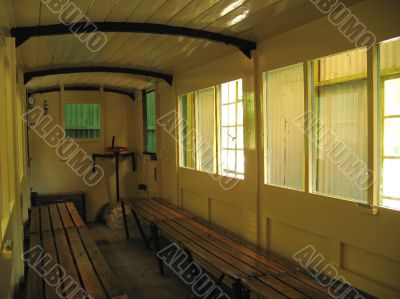 interior of old railway carriage