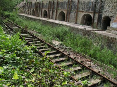 rail track by abandoned kilns
